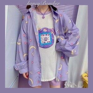 Deeptown Korean Style Women Shirts Kawaii Autumn Fashion JK Blouse Women Long Sleeve Cute Loose Button Up Shirt Oversized Tops