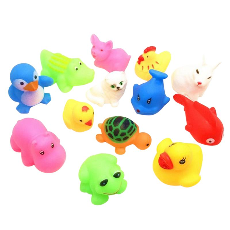 ABS Material Summer Baby Rubber Bathing Water Toys Lovely Safety Cartoon Animal Shape Pinching Voice Float Squeaky 13 Pcs Toy