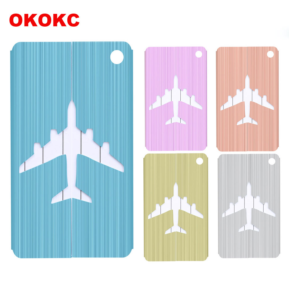 Aluminium Alloy Brushed Luggage Tags Cover Luggage Checked Boarding Elevators travel accessories luggage tag for Bags Label