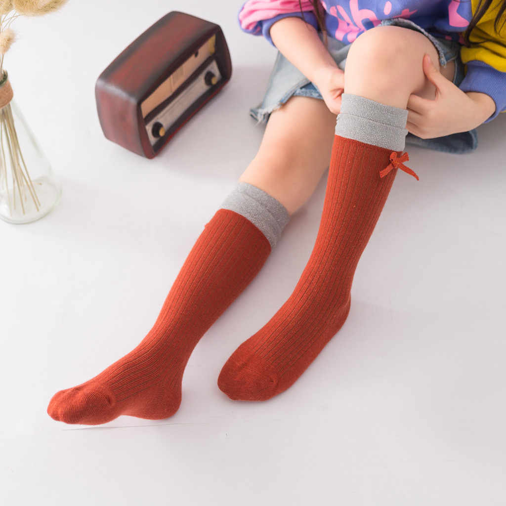 Toddler Kids Baby Girls Knee Socks Solid Anti-slip Knitted Long Socks Striped Winter Children Princess Socks For Girls 1-8 Years