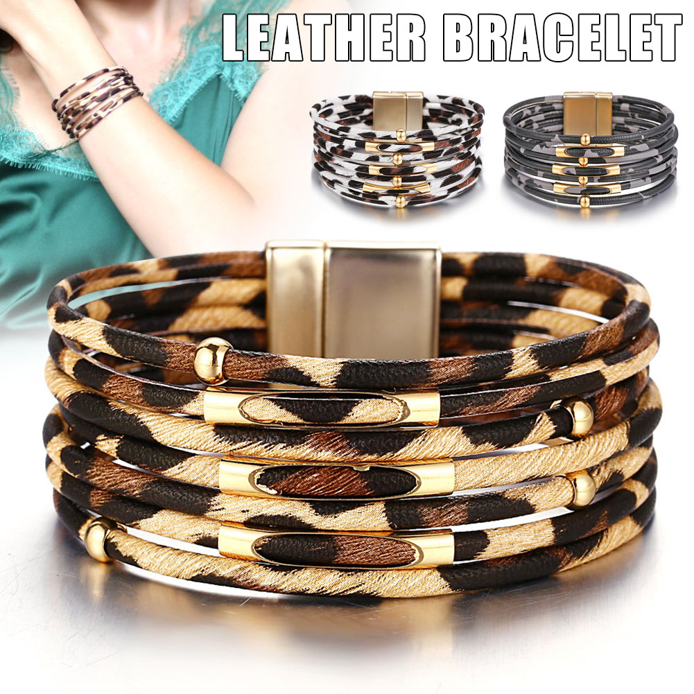 Leopard Print Multi-layer Leather Bracelet Wristband Bracelet For Women Jewelry