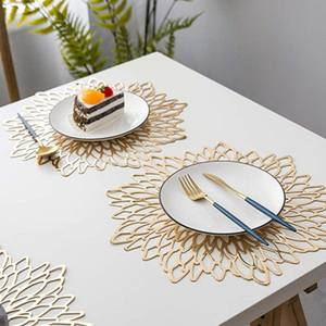 Placemat Dining-Table-Mats Home-Decor Kitchen Gold Flowers-Shape Stamping for Hibiscus