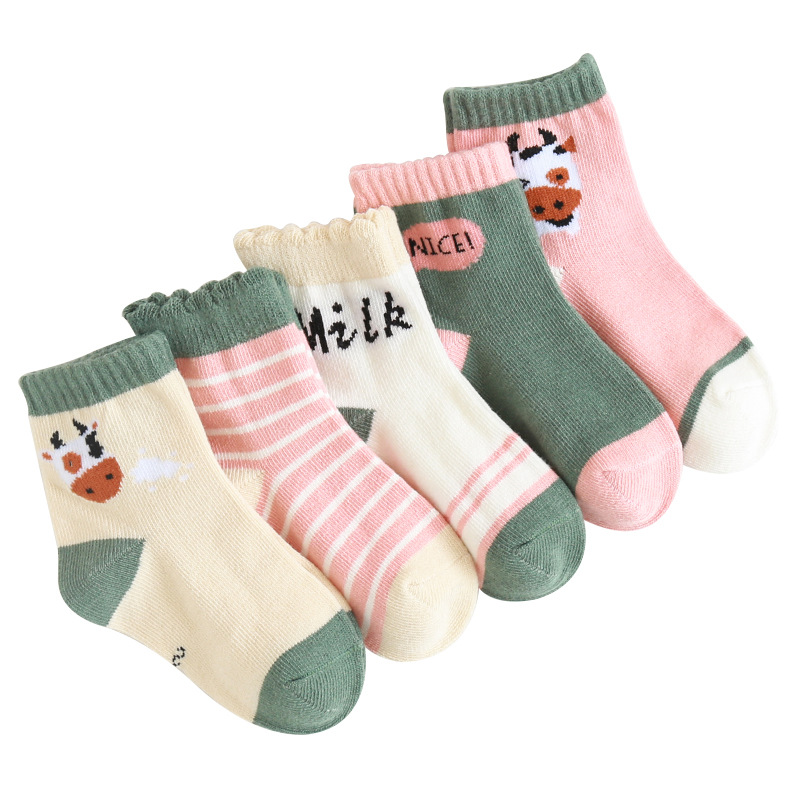 Spring And Autumn New Style CHILDREN'S Cartoon Socks Set Men And Women Baby Comfortable Cotton Socks 5-pair Pack Combination Cre