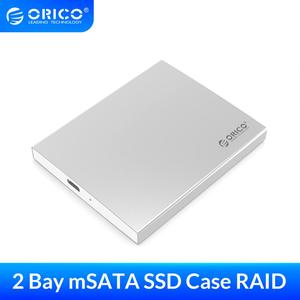 ORICO Aluminum Dual Bay Type-C mSATA SSD Case with RAID Function Support 10Gbps USB3.1 Gen2 USBC SSD Enclosure With C To C Cable(China)