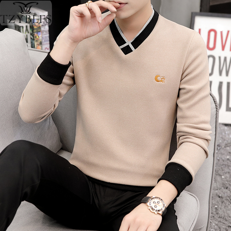 2019 Long Sleeve Men's Sweater Winter Upper Garment Slim Fit Cover Korean Version Thickened Trend Warm Bottoming Shirt