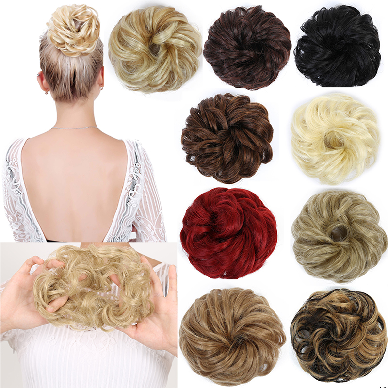Allaosify  Women's Curly Clip Chignon With Elastic Rubber Band Synthetic Scrunchie Wrap Hair Messy Bun Hairpieces
