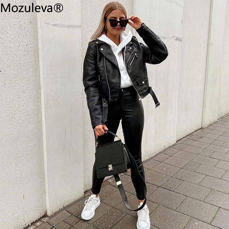 Mozuleva 2020 Winter Coat Retro High Street Turn-down Neck Women PU Leather Jacket Short Black Faux Leather Jacket Female Loose