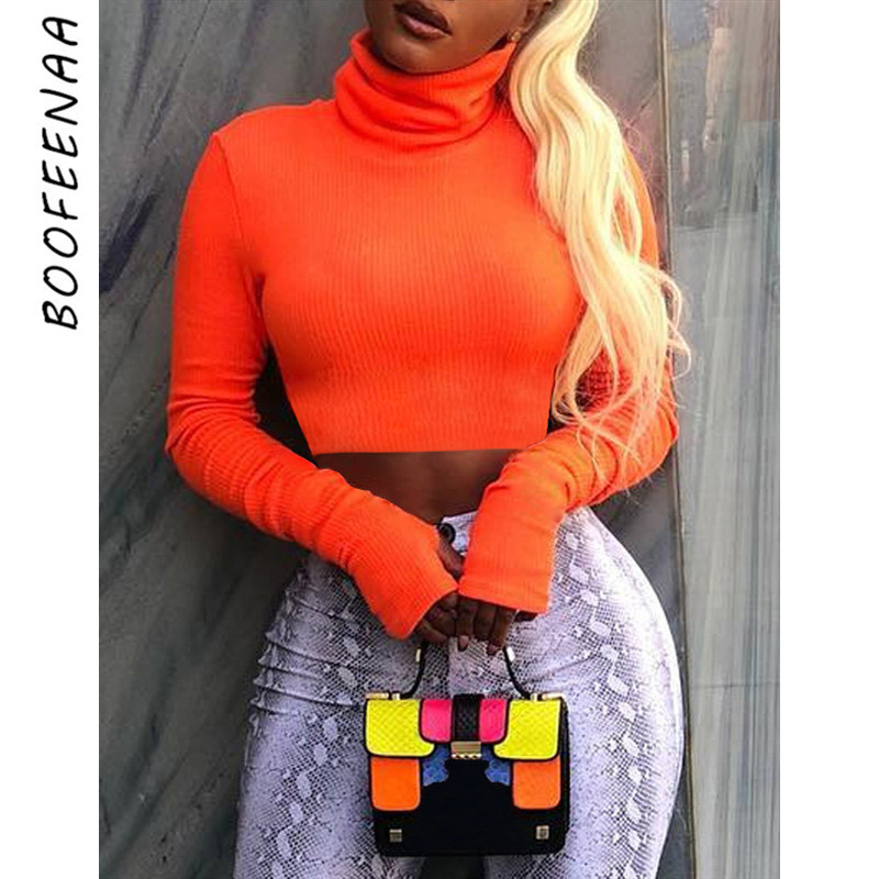 BOOFEENAA Neon Color Turtleneck Crop Top Long Sleeve Shirt Women Sexy Slim Autumn Winter Street Tops Tshirt Streetwear C70-I23