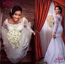빈티지 긴 소매 스퀘어 넥 환상 수 놓은 레이스 그물 인 어 공주 웨딩 드레스 순수한 흰색 신부 드레스 vestido w0257