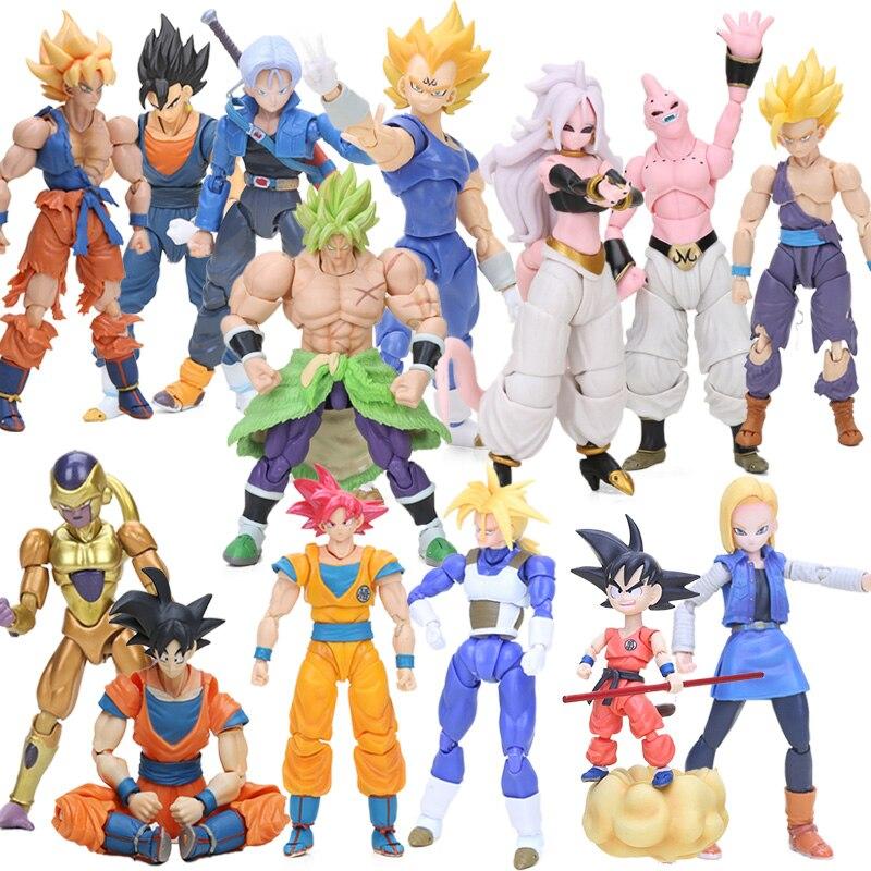 BOX 11.5-17cm Super Saiyan Son Goku Vegetto Vegeta Trunks PVC Action Figures Dragon Ball Z Collection Model Dolls Toys Figurine