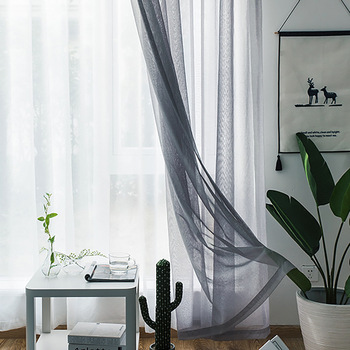 Modern Nordic Sheer Tulle Window Curtains Solid White Gray Black Screening Voile Drapes Living Room Home Decor Furniture Cover 1