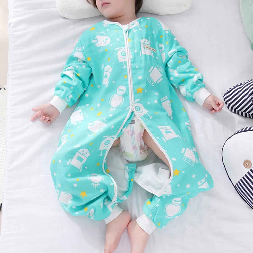 Summer Baby Kids Gauze Split Leg Sleeping Bag Double Cotton Breathable Sleep Sack Newborn Toddler Anti-kick Pajama 60/70/80/90cm