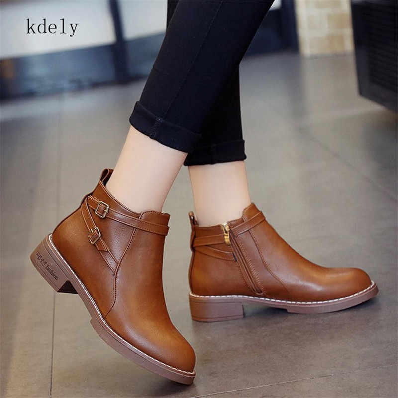 Women Ankle Martin Boots 2019 Autumn Female Casual Shoes Woman Flat Fashion Platform Round Toe Buckle Strap Solid Comfortable