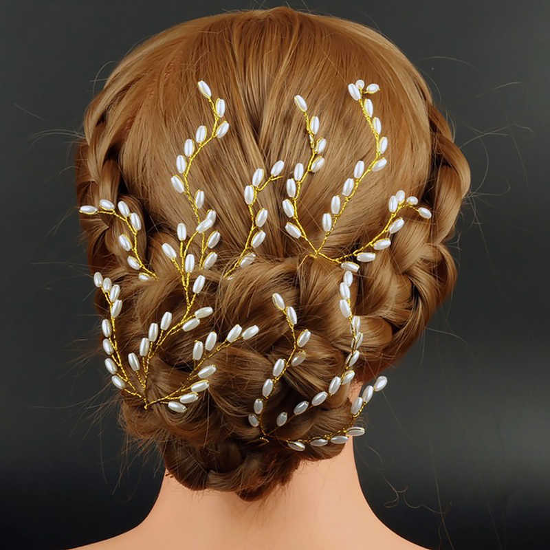 ファッションビーズヘアピンブライダルヘアアクセサリー結婚式パーティーの真珠の髪スティックジュエリー女性女の子クリップ