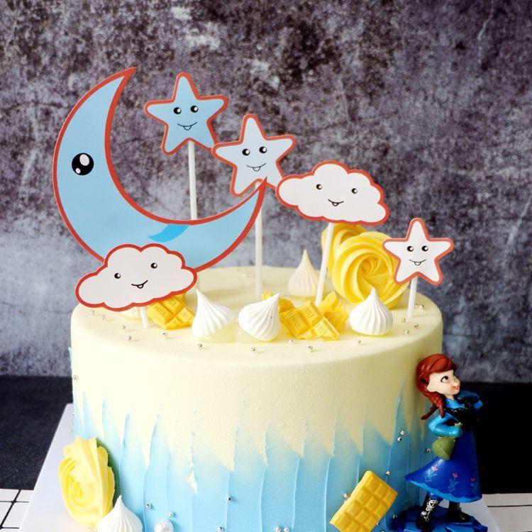 Enjoyable 2020 Creative Moon Star Clouds Theme Happy Birthday Cake Topper Personalised Birthday Cards Veneteletsinfo
