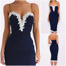 Newest Hot Sexy Women Slim Bodycon Strappy V Neck Lace Flower Evening Party Ladies Pencil V Neck Midi Dress Sapphire(China)