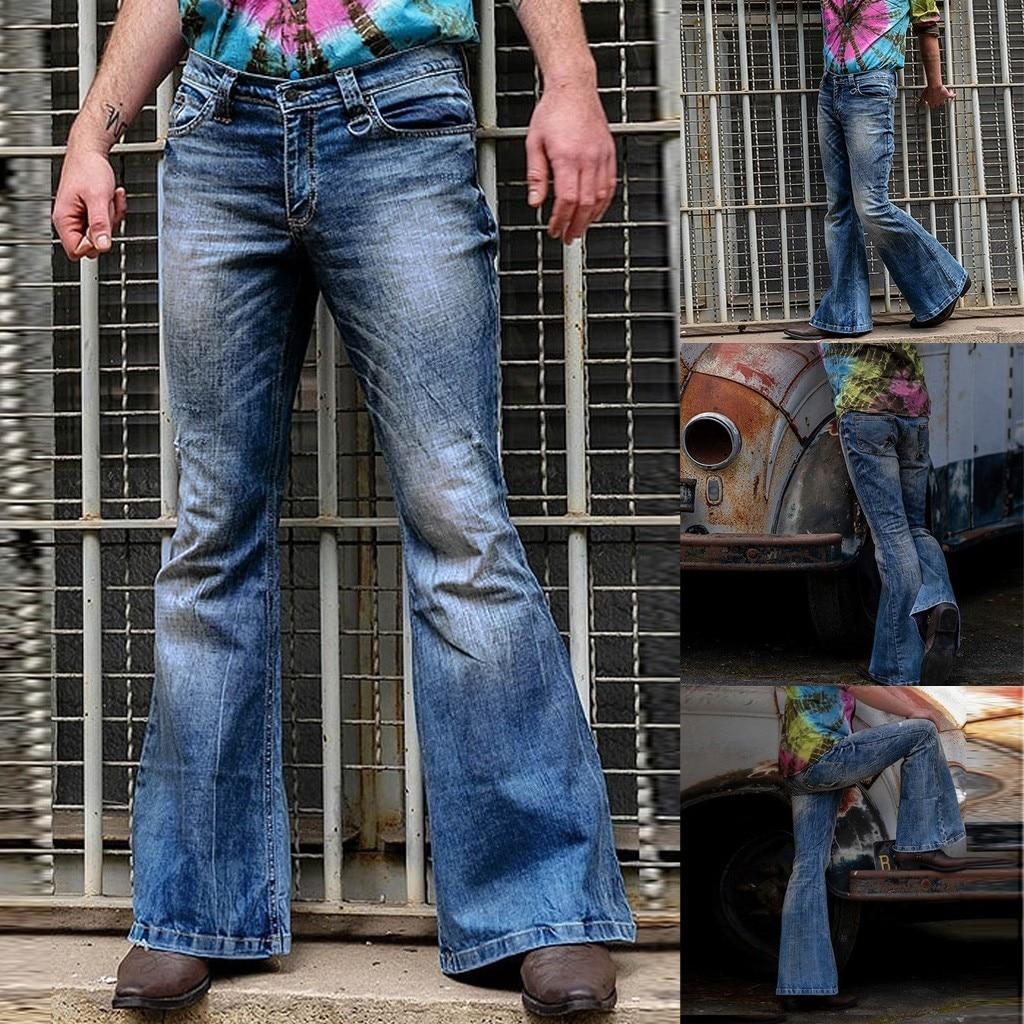 2019 Autumn Men Jeans Fashion Loose Denim Straight Trouser Distressed Jeans Long Flare Pants Vintage Blue Hip Hop Work Jeans#G2
