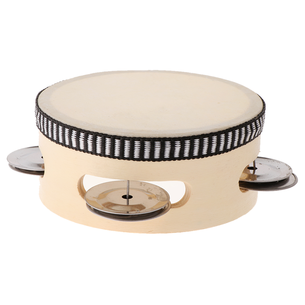 Hand Held Tambourine Drum With Metal Jingles Percussion Musical Instruments Toys For Church Party Dance (4 Inch)
