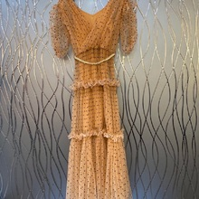 New 2021 Summer Long Dress High Quality Women V-Neck Polka Dot Print Crystal Beading Belt Short Sleeve Apricot Pink Dress Maxi