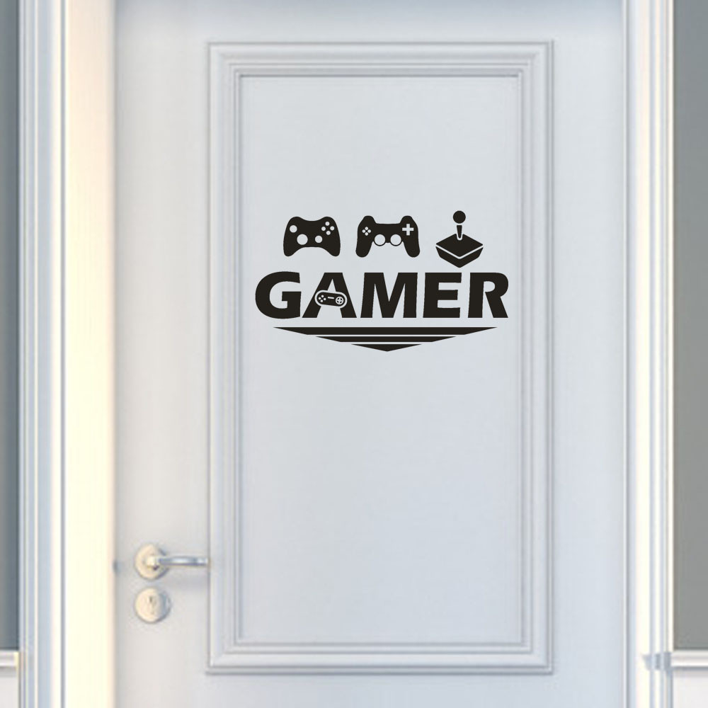 stickers Gamer Letter printed Wall door Sticker for home room decoration Removable Art Vinyl Mural Home Room Decor wallpaperF811