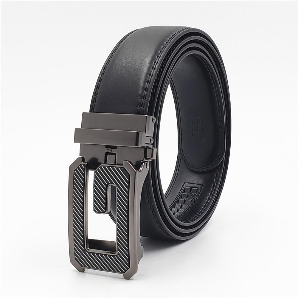 New Genuine Leather Men Belt Fashion Designer G Buckle Belt Men Luxury Brand Cowhide Waist Strap Male Automatic Buckle Belts in Men 39 s Belts from Apparel Accessories