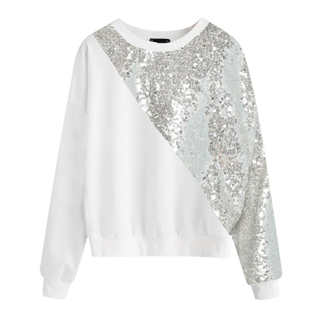 Fashion Women Blings Sequins Color Block O-Neck Patchwork Sweatshirt Pullover Simple Fashion Crop Top Mujer