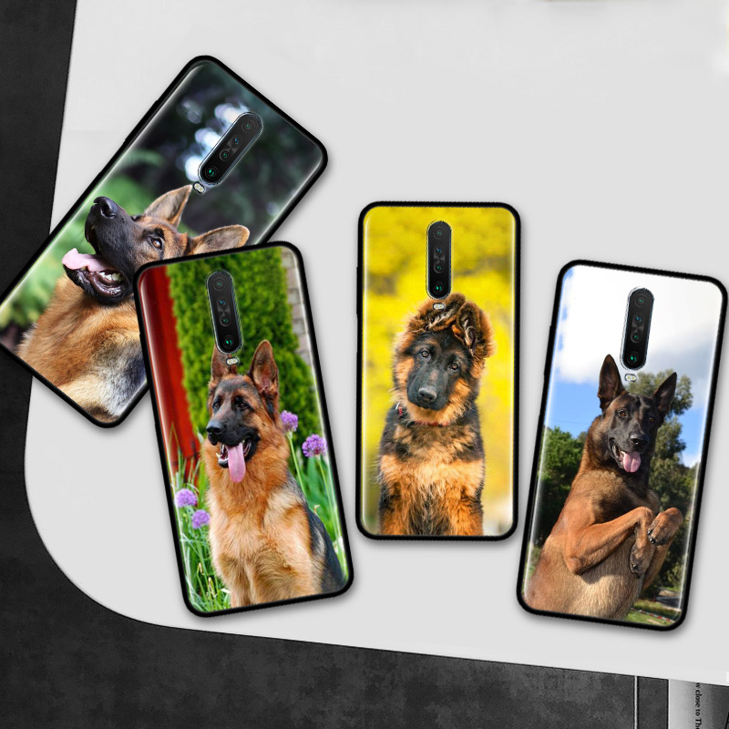 German Shepherd Dog Case for Xiaomi Redmi Note 8T 8 7 9 Pro K20 K30 5G 6 6A Black Silicone Protective Phone Cover