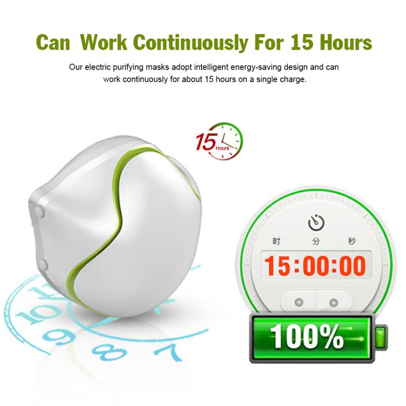 N95 Electric Mask Air Purification Electric Mask Reusable Mask Electric Anti-Pollution Breathable Anti Smog Filter Fan Mask