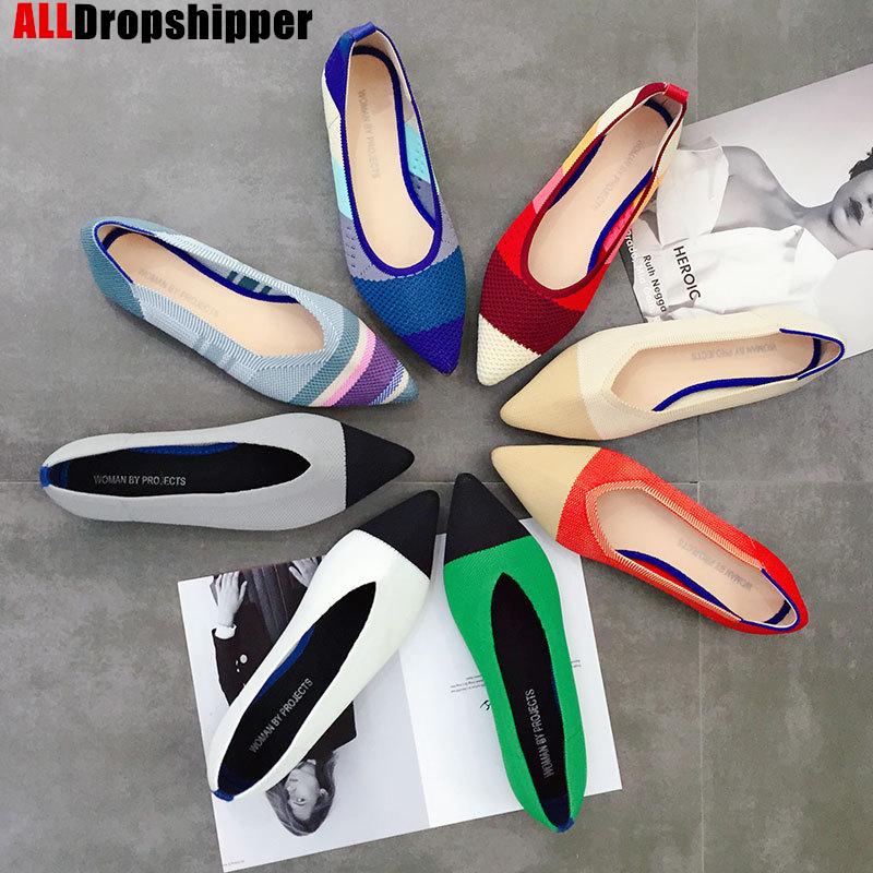 Color Casual Women Soft Shoes Breathable Knit Pointed Shoes Women's Flat Shoes Ballet Single Shoes Comfortable Pregnant Shoes