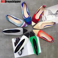 Cor casual sapatos femininos macios respirável malha apontou sapatos femininos sapatos de ballet único sapatos confortáveis sapatos de grávida