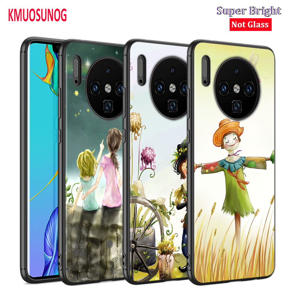 Black Cover Cute <font><b>Summer</b></font> kids for <font><b>Huawei</b></font> Mate 30 (5G) 20 20X 10 Lite Y9 Y7 <font><b>Y6</b></font> Y5 Pro Prime 2019 <font><b>2018</b></font> Phone <font><b>Case</b></font> image