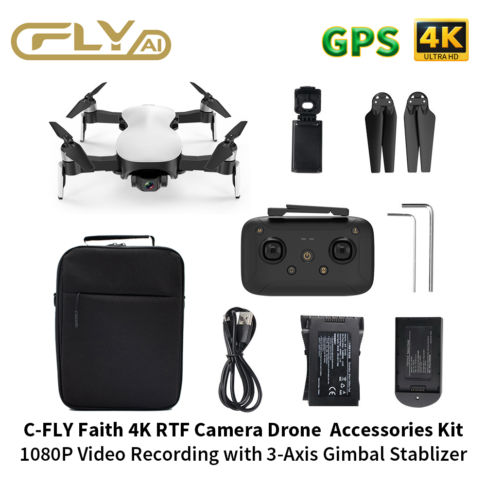 RC Drone 4K GPS Drone C-FLY Faith HD Camera Drone With 1.2KM FPV 3-Axis Gimbal 25Min Flight RTF Quadcopter Drone Accessories Kit