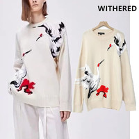 Withered 2019 winter sweater women england vintage Red crowned crane embroidery oversize loose pull femme sweaters pullovers top