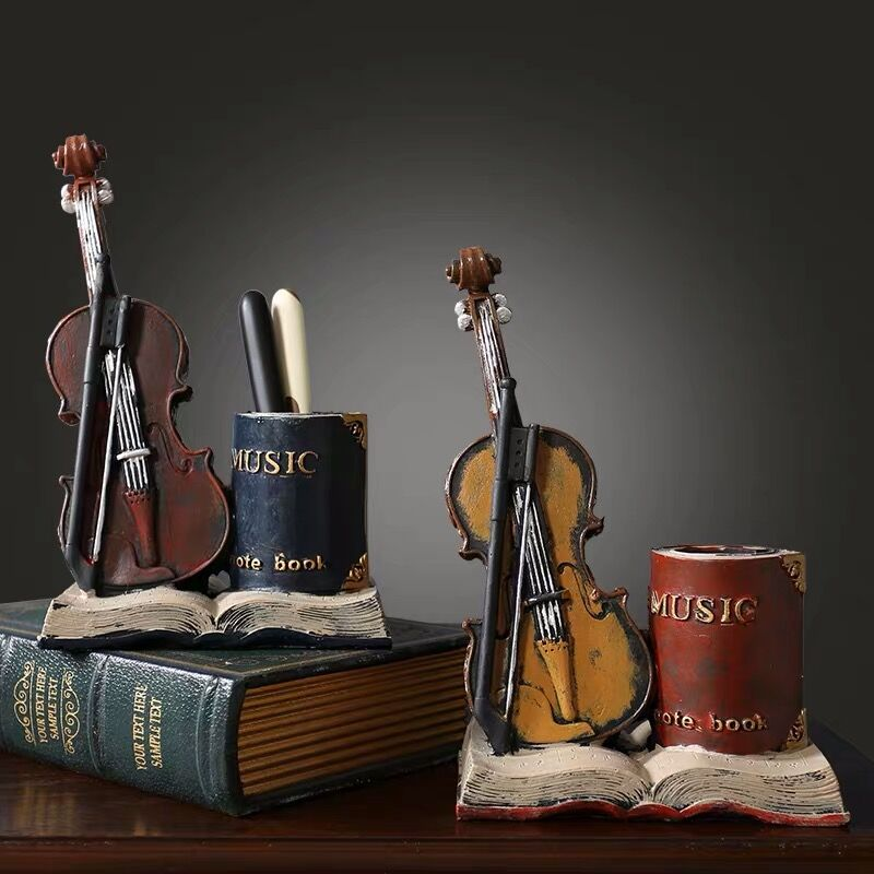 2020 Sharkbang Vintage Violin Resin Pencil Pen Holder Desk Organizer Storage Holder Display Ornament School Stationery Gift
