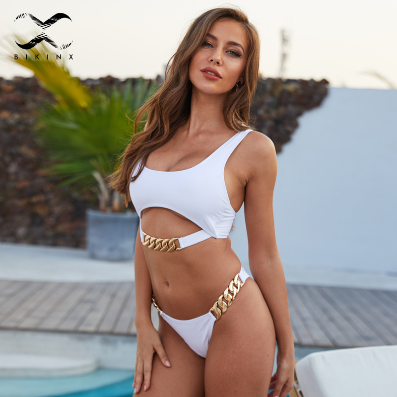 White High Cut Swimwear Female Sexy Hollow Out Bathing Suit Sexy Ring Swimsuit Women Brazilian Bikini Set 2019 Fashion Bathers