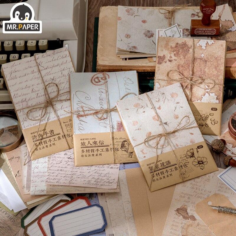 Mr.paper 30 pçs/saco 4 designs estilo vintage ponta de papel temperatura série criativo papelaria mão conta pacote material diy