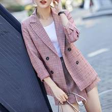 Vintage Elegant Suits Vrouwen Plaid Blazer Jasje Sexy Mini Rok 2 Delige Set Casual Formele Werk Office Lady Uniform(China)