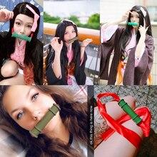 Démon tueur Kimetsu No Yaiba Kamado Nezuko bâton d'étanchéité Cosplay accessoires filles Halloween bambou bouche bâtons