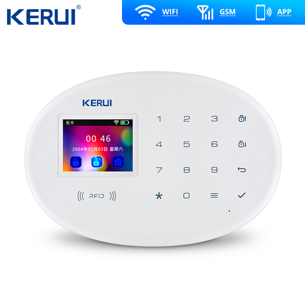 KERUI W20 Wifi Gsm APP Rfid Control Touch Screen Alarm Wireless GSM SMS Intruder Security Alarm System PIR Motion 1