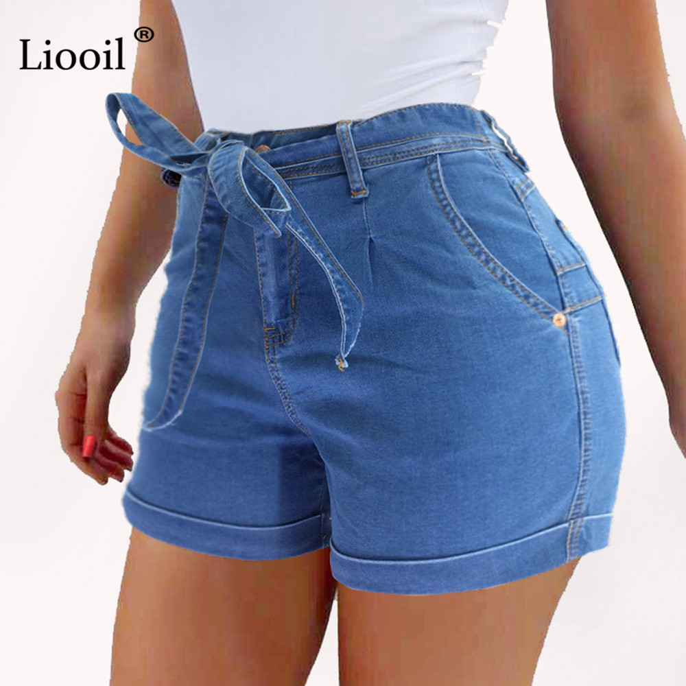 Liooil Ladies Short Jeans 2020 Cotton Blue Jean Shorts High Waist Women Summer Lace-Up Pockets Sexy Denim Woman Shorts