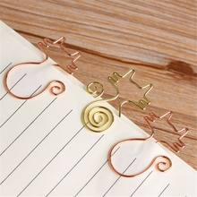 5 pçs bonito dos desenhos animados oco para fora forma de gato clipes de papel clipes de memorando metal marcador novidade escritório escola artigos de papelaria encadernação suprimentos