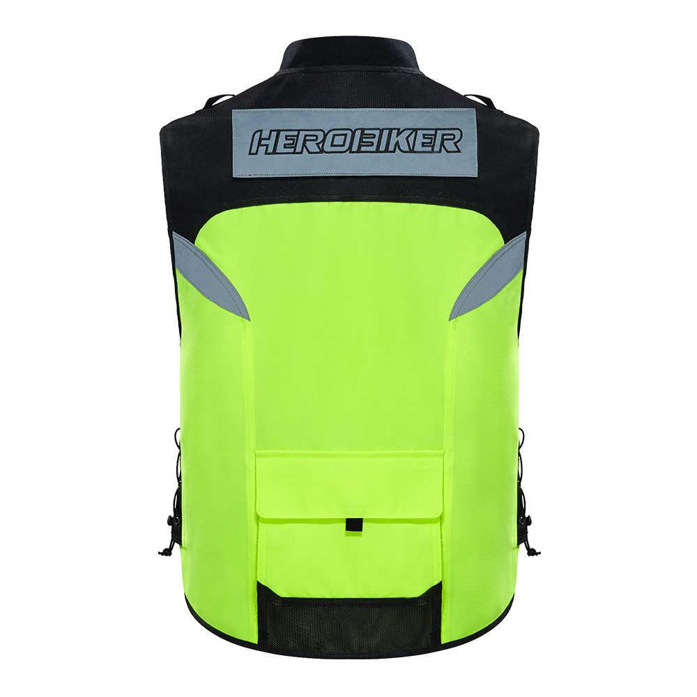Chaqueta de motociclista HEROBIKER, equipo de protección, chaqueta reflectante de noche para Moto, chaleco para carreras todoterreno de verano, con protección