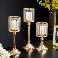 Metal castiçal de vidro centros de mesa para boda decorações de natal para casa castiçais de metal castiçal vertical