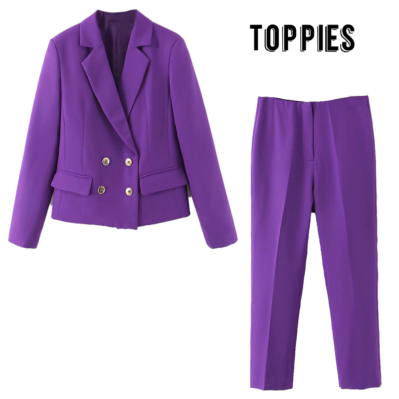 Toppies Women Sets Double Breasted Suit Jacket High Waist Pants 2020 Spring Suit Women OL Formal Clothes