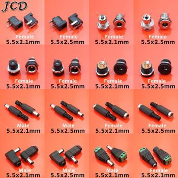 JCD 1PCS male and female DC Power Jack socket 5.5*2.1mm 5.5*2.5mm 5.5x2.1 5.5x2.5mm Jack Adapter Connector Plug image