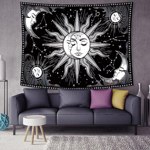 Sun Moon Face черно-белый гобелен настенный как настенное искусство и украшение для дома для спальни Декор для гостиной