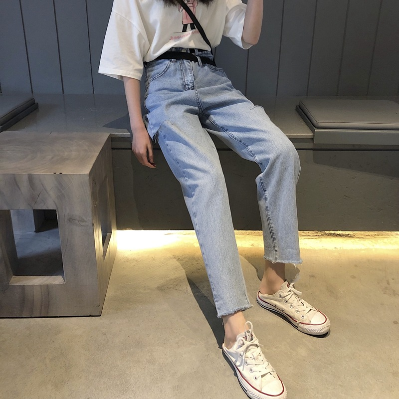 New Style Cut Edge Jeans 2019 New Style Women's Slimming Versatile 18-24 A Year Of Age CEC Straight-Cut Daddy