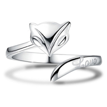 PISSENLIT Simple Adjustable Silver Ring Lovely Fox Women Jewelry Small Animals Wedding Rings For Accessories Gifts