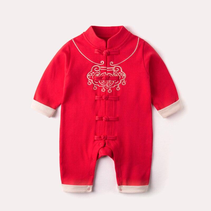 Новинка 2021, детская одежда на китайский новый год, костюм Тан, комбинезон с длинными рукавами и принтом в виде замка для маленьких мальчиков ...