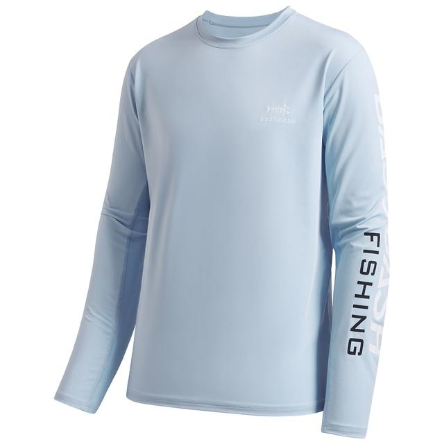 Camiseta de manga larga tama/ño large color Logotipo azul oscuro//blanco. Camiseta de pesca Bassdash para hombre con protecci/ón solar UV UPF 50